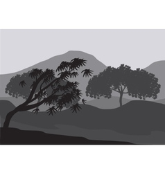 Silhouettes of weathered tree vector