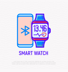 smart watch and smartphone thin line icon vector image