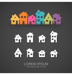 Suburban homes icon set vector
