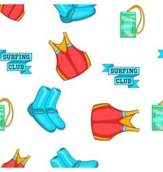 Surfing club pattern cartoon style vector