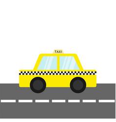 taxi car cab icon on road cartoon vector image