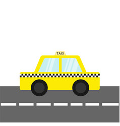 taxi car cab icon on the road cartoon vector image