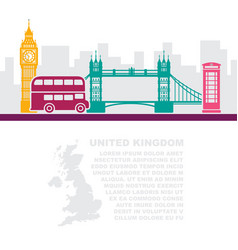 template leaflets with a map of great britain and vector image