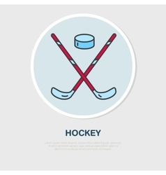 Thin line icon of hockey stick and puck vector