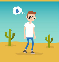 thirsty boy dreaming about water flat editable vector image
