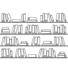 tile pattern with books on shelf on white vector image
