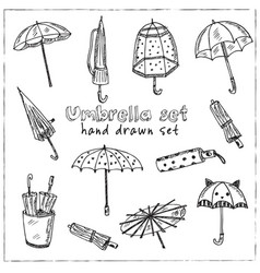 umbrella hand drawn doodle set vector image