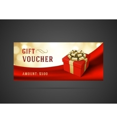 Voucher template with gift box and bow vintage vector image