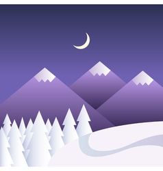 Winter background with mountains at night vector