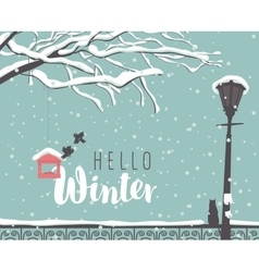Winter cityscape with a branch of a tree vector image vector image
