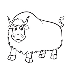 Yak outlined vector
