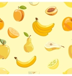 Yellow fruits seamless pattern over white vector image