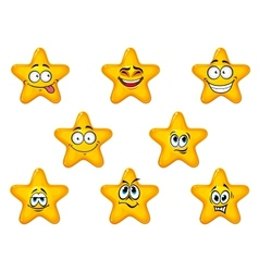 Yellow stars with happy emotions vector image