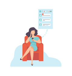 young woman sitting on sofa and chatting using vector image