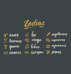 Zodiac signs set and letterings hand drawn vector