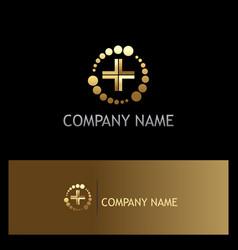 dot abstract cross medic gold logo vector image vector image