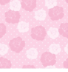 Floral pattern pink roses white polka dots vector image vector image