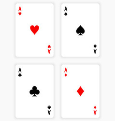 Four Aces Playing Cards on White Background vector image