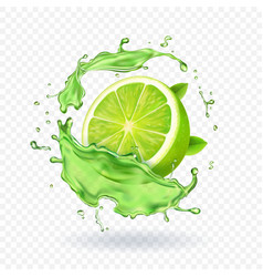 fresh lime in juice splash isolated fruit vector image