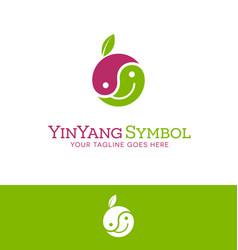 happy face yin yang fruit logo vector image vector image