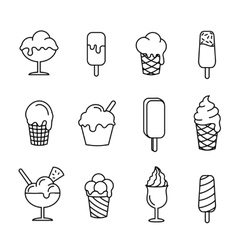Ice cream set line icons vector image vector image