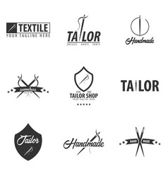 set of tailor sewing handmade logos or emblems vector image