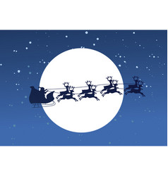 silhouette of flying santa and christmas reindeer vector image