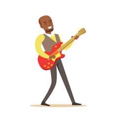 young musician playing electric guitar colorful vector image vector image
