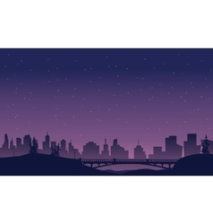 Bridge and city landscape of silhouette vector image