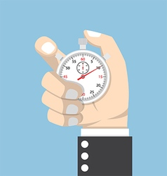 Businessman hand holding stopwatch vector image