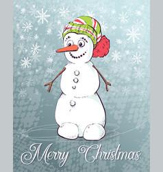 christmas snowman on skates vector image