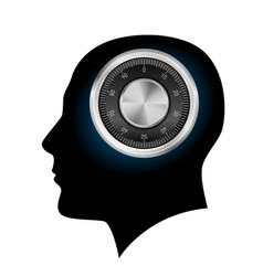 human head with a combination lock on white vector image