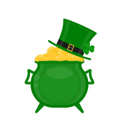 st patricks cauldron with gold and green hat vector image