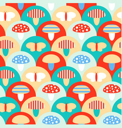 stylized seamless pattern texture with mushrooms vector image