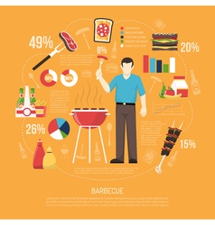 Barbecue Infographics Flat Layout vector image vector image