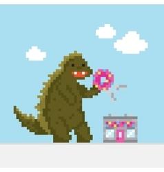 Big cartoon dinosaur attacking donut cafe vector image