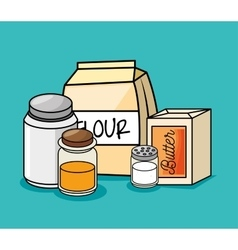 cartoon ingredients breakfast kitchen vector image
