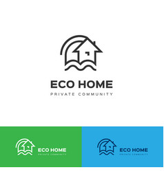 eco home logo eco house icon concept vector image vector image