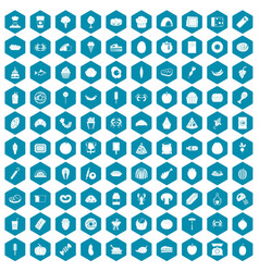 100 favorite food icons sapphirine violet vector image vector image