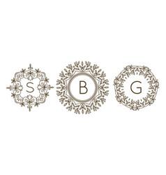 monogram logo and text badge emblem line art vector image