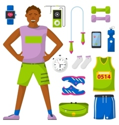 Runner and run equipment set All for running vector image vector image