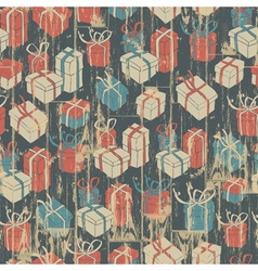 seamless christmas grunge background with gift vector image