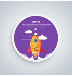 Start up rocket on round banner vector image vector image