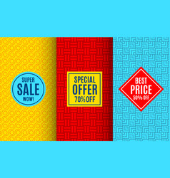 super sale label tag bright pattern vector image