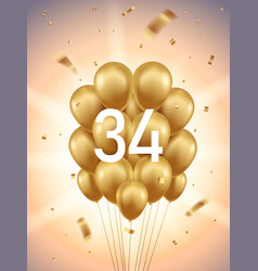 34th year anniversary background vector image