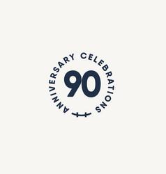 90 years anniversary celebration vintage circle vector