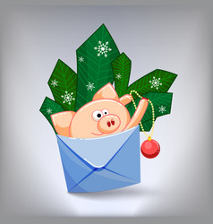 A funny pig jumping out of an envelope to decorate vector