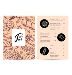 american fast food menu with hand drawn graphic vector image