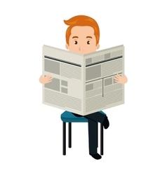 Avatar man reading a newspaper vector