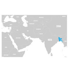 Bangladesh blue marked in political map of south vector